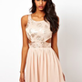 Elise Ryan Sequin Floral Cut Out Skater Dress at asos.com