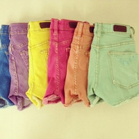 Colorful Spring Cut Off Shorts by SheaBoutique on Etsy