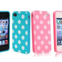 Importer520 2 in 1 Combo Polka Dot Flex Gel Case for Iphone 4 and 4S - Baby Blue/ Pink:Amazon:Cell Phones &amp; Accessories