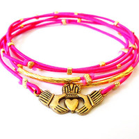 Spring Sale 10% OFF: Claddagh Bracelet Set (Gold and Pink)