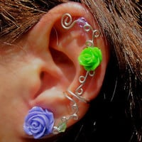"Non Pierced Ear Cuff  ""Roses are Fun"" Cartilage Conch Cuff Silver tone Prom"