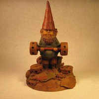 Bubba the weight lifter a vintage Tom Clark gnome uses tinker toys for by BarbaraCsCreations