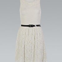 Cream Belted All Over Lace Flared Skater Dress
