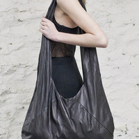 Black Oversized Washed Leather Bag