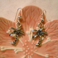 Tibetan Silver Palm Tree Dangle Earrings