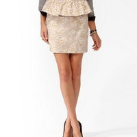 NEW - WOMENS METALLIC SWIRLED PEPLUM SKIRT - GOLD / CREAM - SIZE SMALL