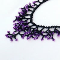 Black Purple Necklace. Beadwork. Beaded Handmade Jewelry.