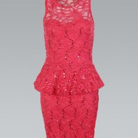 Coral All Over Lace Peplum Bodycon Dress