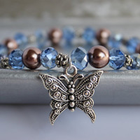 Brown and Blue Beaded Stretch Bracelet with Silver Butterfly Charm - Handmade Jewelry - Ready to Ship