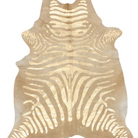 Golden Zebra Cowhide Rug