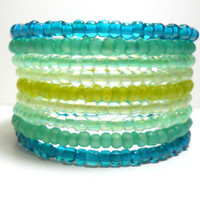 Mint Green and Teal Memory Wire Bracelet Stacked Wrap Bracelet