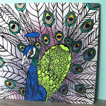 Peacock Original Painting Zentangle From Mayhemhere