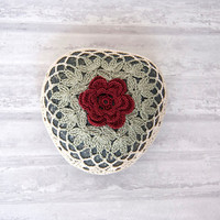 crochet lace stone // rustic beach // river rock // cottage chic // Wedding decor // rustic valentine // ring bearer pillow