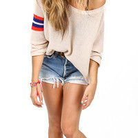 Nude Oversized Knit Sweater with Stripe Arm Print Detail