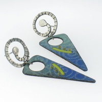 Handmade Hanging Enamel Sifted Earring with Silver
