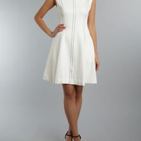 SLEEVELESS STITCH DETAIL SHIFT DRESS