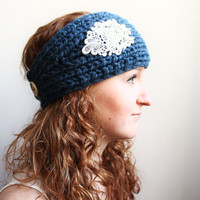 Boho Headband Knit Earwarmer with Lace Trim and Button Closure