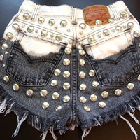 High waist destroyed black ombre denim shorts super frayed with studs size Sm