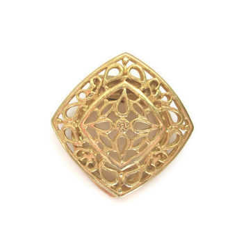 Vintage Scarf Clip Diamond Shape Filigree, Gold Tone