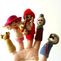 Amigurumi Finger Puppets  Little Red Riding Hood  on Handmade Artists&#x27; Shop