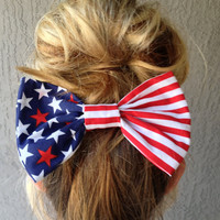 American Flag Bow Flag Hair Bow