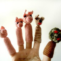 Amigurumi Finger Puppets  The Three Little Pigs on Handmade Artists&#x27; Shop