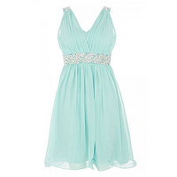 Aqua Diamante Prom Dress at debenhams.com