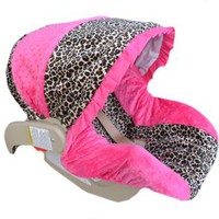Infant Car Seat Cover, Baby Car Seat Cover, Slip Cover-Cheetah Minky &amp; Fuchsia Minky!: Baby