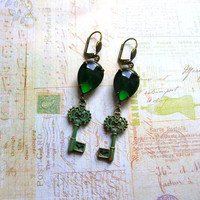 Green skeleton key dangle earrings