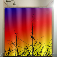 grass branch rainbow sunset bird shower curtain bathroom decor fabric kids bath white black custom duvet cover rug mat window