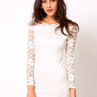Sexy White Long Sleeve Lace Boat Neck Dress at Online Apparel Store Gofavor