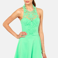 What a Crush Seafoam Lace Halter Dress