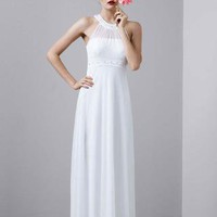Beaded Halter Dress with Sequin and Stone Neckline - David's Bridal - mobile