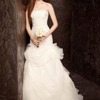 Strapless Tulle and Organza Fit and Flare Gown - David's Bridal - mobile