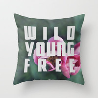 Wild Young Free Throw Pillow by Leah Flores Designs