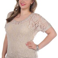 plus size all over lace dolman top with banded bottom - 1000047433 - debshops.com
