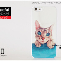 iPhone 5 case - Cute Lovely Cate with Teal eyes