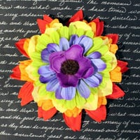 Awesome Rainbow Flower Hair Clip - Pinup Rockabilly Accessory