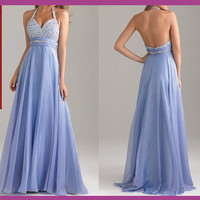 free shipping light blue prom dress, baby blue prom dress, cheap prom dress, formal prom dress, chiffon prom dress, RE036