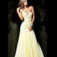 Brilliant One Shoulder Floor-length A-line Chiffon Yellow Evening Dresses [10129114] - US$149.99 : DressKindom