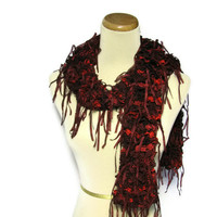 Mothers Day Ruffle Hand Knit Scarf - Red Burgundy