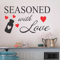 Vinyl Wall Quotes Kitchen Lettering Seasoned with Love Heart Salt Shaker