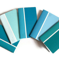 Mini Paint Chip Notebooks Shades of Blue Notebook Upcycled