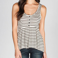 FULL TILT Striped Womens Henley Top