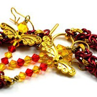 Red and Yellow Dragonfly Chainmaille Bracelet and Earrings Set