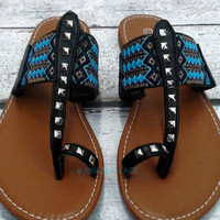 RESTOCKED! Davidson Aztec Tribal Black Teal Flat Sandals