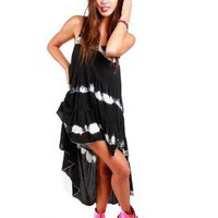 Black Sleeveless Tie Dye Print Dress with Hi-Low Hemline