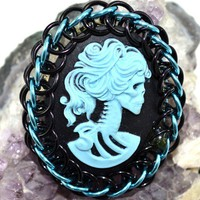 Skull Lady Cameo Sky Blue and Black Chainmaille Wrapped Cabochon