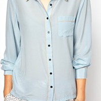 Ganni Silk Western Shirt with Peach Piping at asos.com