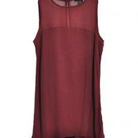 Retro Semi-sheer Chiffon and Cotton Panel Tank in Claret-red